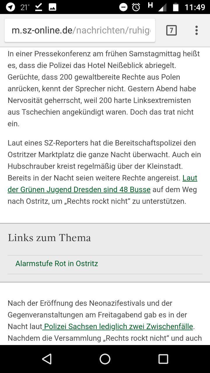 "Sächsische Zeitung: ""Laut der Grünen Jugend Dresden sind 48 Busse auf dem Weg um ""Rechts rockt nicht"" zu unterstützen."""
